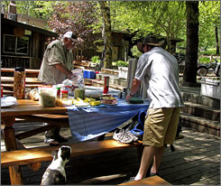 No roughing it allowed: Lunch is set up on the patio at Paradise Lodge. Food, beds and showers are provided on the hikes.