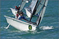 Biscayne Bay: Boats vying in the Rolex Miami Olympic Classes Regatta ply the turquoise waters.