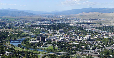 From Mount Sentinel: Downtown Missoula, home to the University of Montana, as seen looking west over the city, which is encircled by hundreds of miles of trails.