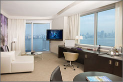 The W Hoboken Hotel, the first W in New Jersey, has 225 guest rooms, including 23 suites and 40 condos.
