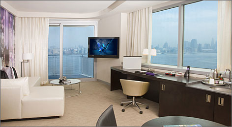 Just across the Hudson: Most rooms in the 25-story W Hoboken in New Jersey come with views of the Big Apple just across the river.