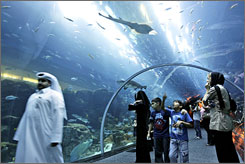 The massive new Dubai Mall features an aquarium boasting the world's largest viewing panel.