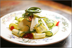 In Park Slope neighborhood: Shaved zucchini salad shows Al di La Trattoria's fresh ingredients.
