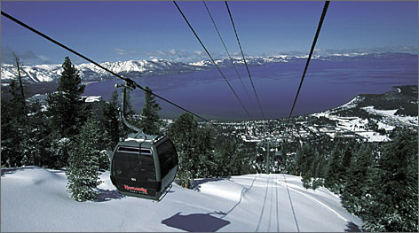 Ski in, ski out: This gondola links Heavenly Mountain with downtown South Lake Tahoe.