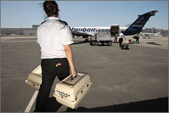 Pets are loaded for takeoff on the maiden voyage of Pet Airways on July 16, 2009, in Hawthorne, Calif. Despite a tough economic climate, the airline expects to expand into 25 cities within two years.