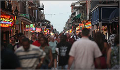 "Bourbon Street: It's ""cleaner than it's ever been,"" the visitors bureau says."