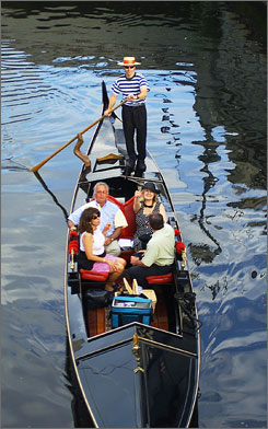 O float with me-o: Providence's gondola rides feature singing gondoliers.