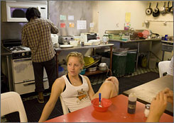 Guests eat breakfast at the Venice Beach Hostel in Los Angeles.