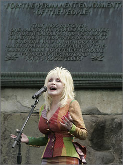 Country music star Dolly Parton performs during the 75th Anniversary Rededication Event in the Great Smoky Mountains National Park.