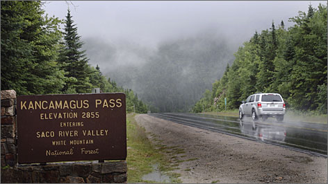 The  Kancamagus Highway winds through the White Mountains in New Hampshire.