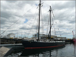 The 115-year-old schooner Ernestina sits at her berth at the State Pier.