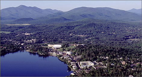 Surrounded by protected wilderness: The village of Lake Placid sits on Mirror Lake, which many visitors mistake for much larger Lake Placid less than a mile away.