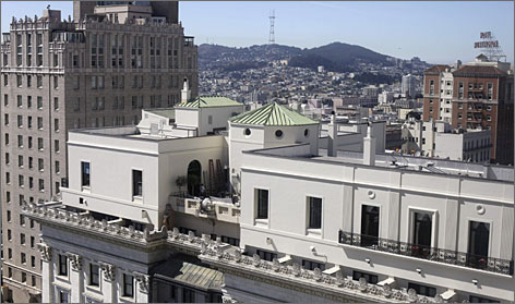 The restored penthouse suite takes up the entire eighth floor of the Fairmont Hotel in San Francisco.
