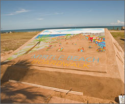 A 12-by-12-foot sand painting shows the Myrtle Beach boardwalk, expected to be complete by summer 2010.