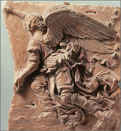 Art historians attribute the terracotta relief &quot;Flying Angel&quot; to Leonardo da Vinci, whose rare sculptures are part of a new exhibition at the High Museum of Art in Atlanta. 