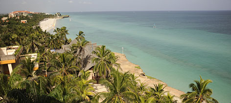 Beautiful views: Varadero Beach as seen from a Melia Varadero hotel suite.