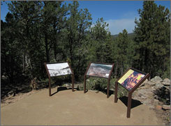 """Interpretive markers in Glorieta Battlefield tell the story of a Civil War battle near Pecos, N.M., that historians call """"the Gettysburg of the West."""""""
