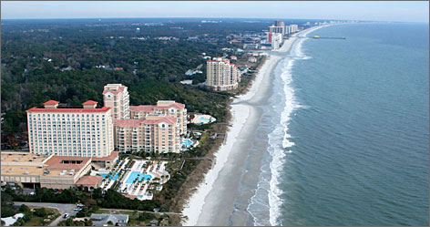 Carolina riviera: The Grand Strand is a 60-mile-long swath of beach anchored by the bustling resort of Myrtle Beach, with smaller, quieter communities to the north and south.