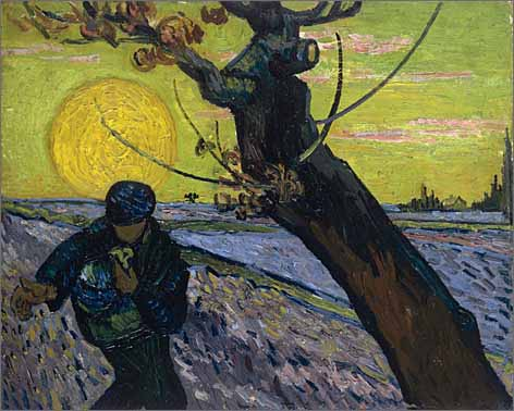 "Van Gogh described The Sower in a letter to his brother: ""Green-yellow sky with pink clouds. The field is violet, the sower and the tree Prussian blue. """