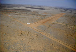 The 10,000-foot long runway at Spaceport America in Upham, N.M., is expected to be complete by next summer.