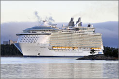 Royal Caribbean's Oasis of the Seas, the world's largest cruise ship, has left the Finnish shipyard where it was built to sail to Fort Lauderdale.