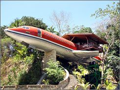 First-class lodging: The Fuselage Suite at Hotel Costa Verde in Costa Rica, complete with two bedrooms, kitchen and balcony on the wing.