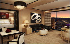 The Parlor Tower Suites at Encore Las Vegas offer 1,408 square feet of space, wet bar, massage room, automatic draperies and bathrooms with TVs. Rates currently average about $600 a night.