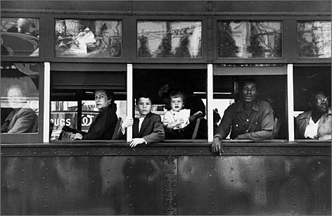 Trolley New Orleans, 1955: Take a streetcar, just like the people in Robert Frank's The Americans, on view at the Metropolitan Museum of Art through Jan. 3.