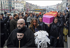 As native Venetians flee in droves to the mainland for cheaper housing and easier living, those who have stayed held a mock funeral procession Nov. 14 to mark the city's perceived demise.