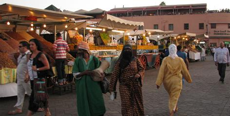 Marrakesh's main square: The sprawling Djemaa el Fna attracts locals and tourists with its food stalls and carnival-like atmosphere.