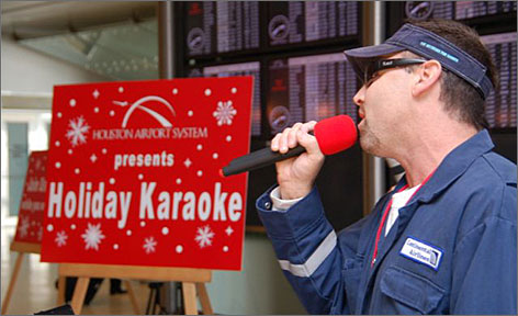 Last year, airline employees joined in at the Holiday Karaoke performances at George Bush Intercontinental Airport.