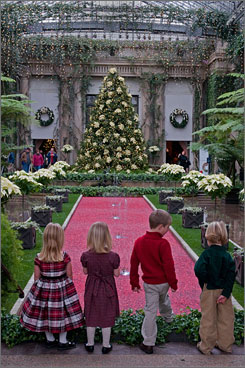 In Kennett Square, Pa.: Longwood Gardens - and visiting children - get dressed up for the holiday.
