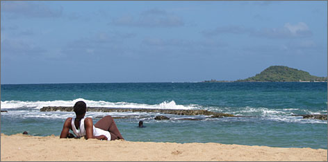The view from the sands: Grenada has 45 beaches, all open to the public. Bathway Beach, on the islands northeastern shore, is better known by locals than tourists.