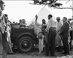 In this Aug. 5., 1934, photo, President Franklin D. Roosevelt and Eleanor Roosevelt are inducted into the Blackfeet tribe in Glacier National Park. The park turns 100 in 2010.