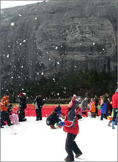 Snow Mountain Park in Stone Mountain, Ga., cranks out 240 tons of machine-made snow a day.
