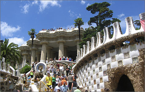In Barcelona, families enjoy a stroll through Gaudi's Parc Guell.