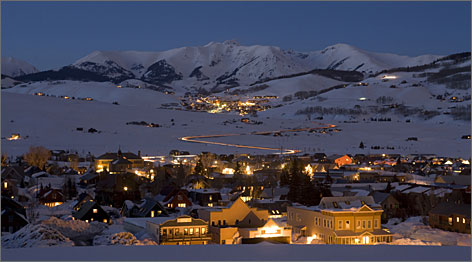 Two worlds in one: Crested Butte, the old mining town, with Mt. Crested Butte, the famed ski resort, in the distance.