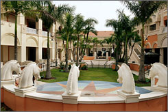 Shops at The Village at Gulfstream Park include clothing and shoe boutiques, West Elm, Pottery Barn and more.