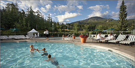 In British Columbia: The pool at the Fairmont Chateau Whistler was the backdrop for shoots with U.S. Olympic gold-medal skier Lindsey Vonn and her teammates.