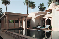 In India: The pool pavilion at the Amanbagh Resort in Alwar offered beautiful sets and world-class service.