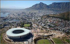 High hopes: An aerial view of the new Green Point Stadium from the top of Table Mountain. South Africa is hosting the continent's first FIFA World Cup.