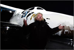 "Richard Branson unveiled Virgin Galactic's SpaceShipTwo last December. About 250 would-be travelers have already booked flights with the ""spaceline."""