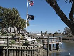 The free walkway in Murrells Inlet, S.C., with views of the marsh and water, connects a string of eight seafood restaurants in the hamlet south of Myrtle Beach.