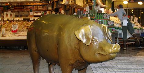 Seattle: Rachel, a 700-pound bronze piggy at the Pike Place Market, beckons good-luck seekers with her lucky snout. Any coins donated to the piggy bank are given to local non-profit groups.