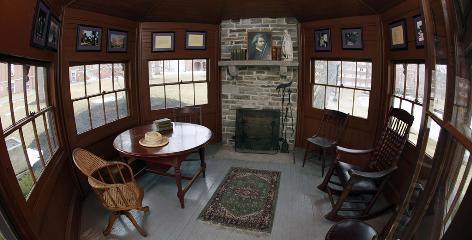 The study at Mark Twain's home in Elmira, N.Y., was designed to resemble the pilot house of a Mississippi steamboat.