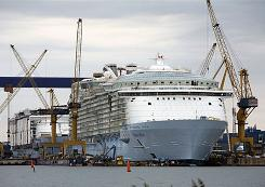 The 5,400-passenger Oasis of the Seas under construction at the STX Europe shipyard in Turku, Finland. The shipyard currently has just one major cruise ship on order, Oasis' soon-to-debut sister Allure of the Seas (scheduled for completion in November 2010).