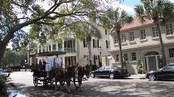 In the historic district: Horse- and mule-drawn carriage tours, a quaint sight in Charleston, S.C., are regulated under the city's tourism ordinance.