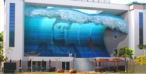 "Honolulu: The Mana Nalu (""spirit of the wave"") Mural Project features Hawaii's last queen, Liliuokalani, and legendary surfer Duke Kahanamoku."