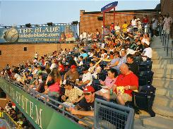 Mud Hens' Roost: A view of the home-run porch at Fifth Third Field in Toledo.