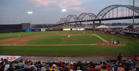 River Bandits rule: Modern Woodmen Park in Davenport, against a backdrop of Centennial Bridge over the Mississippi.